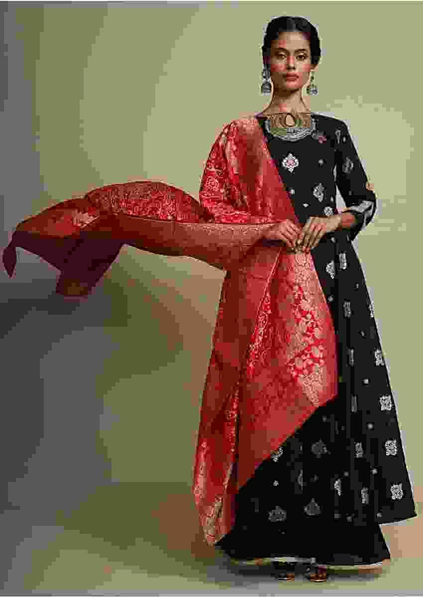 Black Palazzo Suit With Weaved Geometric Buttis And Contrasting Red Brocade Dupatta Online - Kalki Fashion