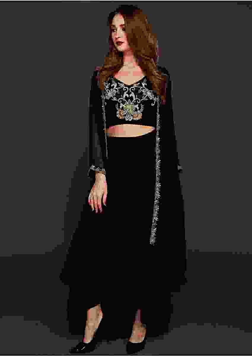 Black Skirt Increpe With Cotton Silk Crop Top And Organza Jacket Online - Kalki Fashion