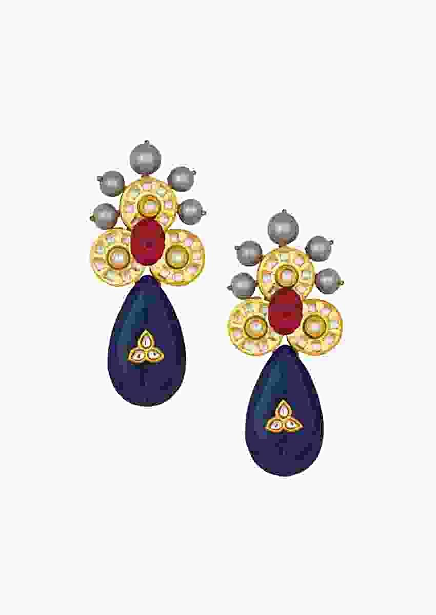 Blissful Kundan Polki Earrings With Carved Hydro Rubies, Shell Pearls And Onyx Drops Online - Joules By Radhika