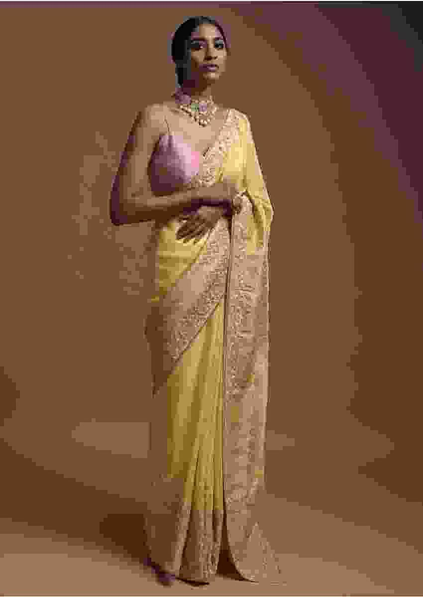 Blonde Yellow Banarasi Saree In Cotton Silk With Weaved Buttis And Mesh Pattern On The Border Online - Kalki Fashion