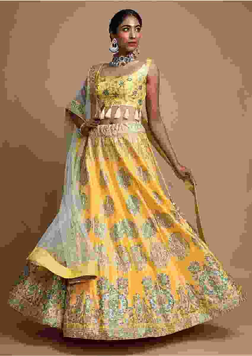 Blonde Yellow Lehenga Choli With Foil Printed Floral Buttis And Cut Dana Accents Online - Kalki Fashion