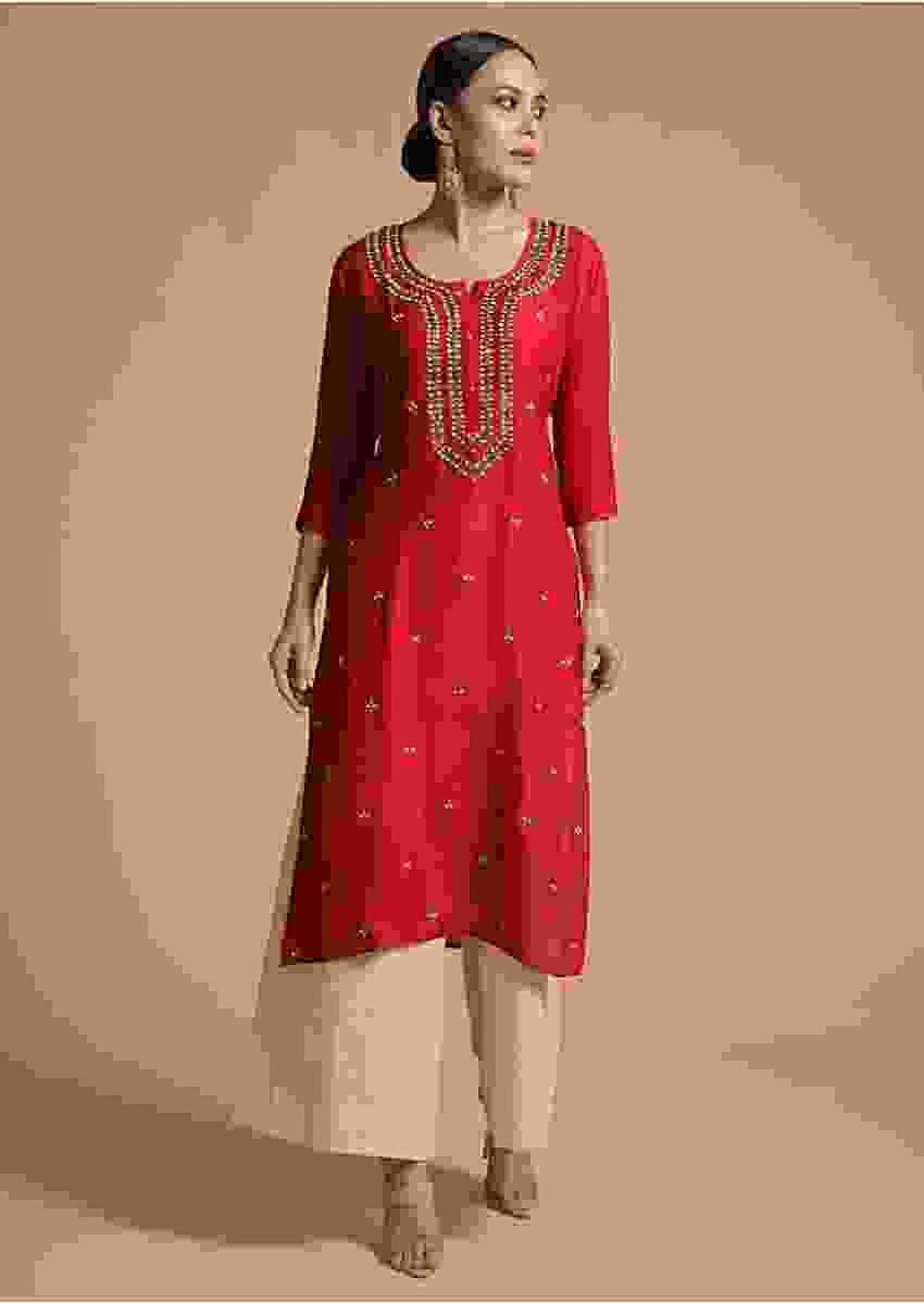 Blood Red Kurti In Cotton Silk With Zardosi Embroidery And Matching Mask Online - Kalki Fashion