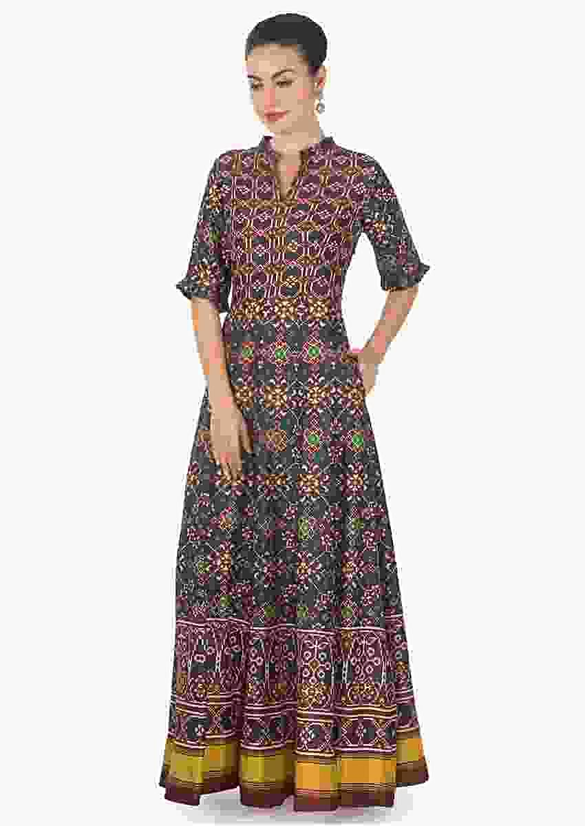 Blue And Red Long Dress In Patola Silk With Ikkat Motif Print Online - Kalki Fashion