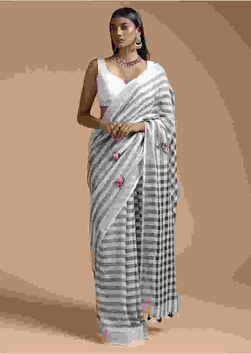 Blue And White Saree In Linen With Woven Stripes And Hand Embroidered Floral Buttis Online - Kalki Fashion