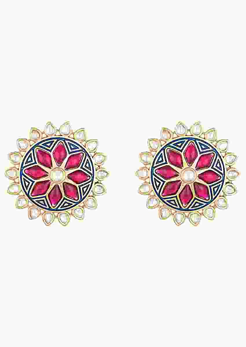 Blue Enamelled Stud Earrings In Floral Design With Kundan And Red Pota Stones By Aster