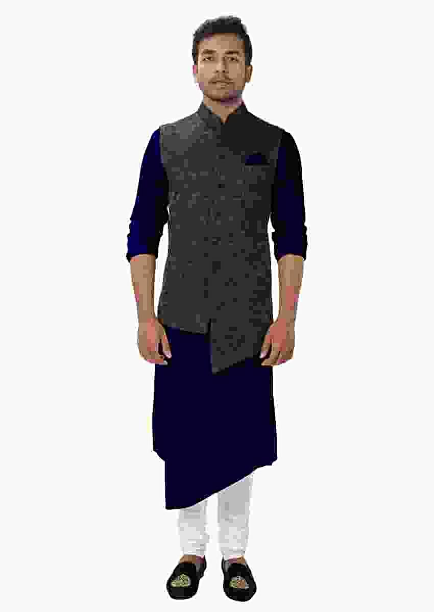 Blue Front Slit Kurta Set Paired With A Black Paisley Self Embroidered Asymmetrical Jacket Online - Kalki Fashion