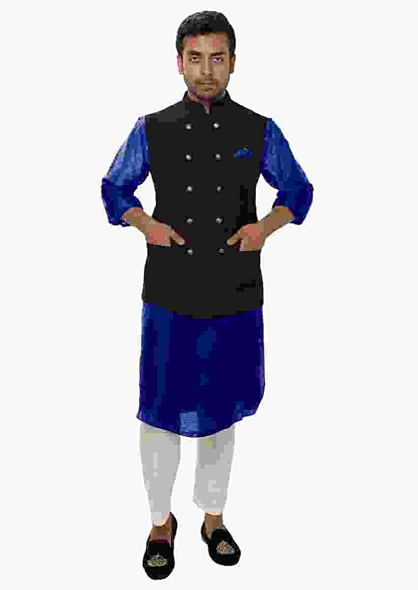 Blue Kurta Set Paired With A Black Double Breasted Jacket Online - Kalki Fashion
