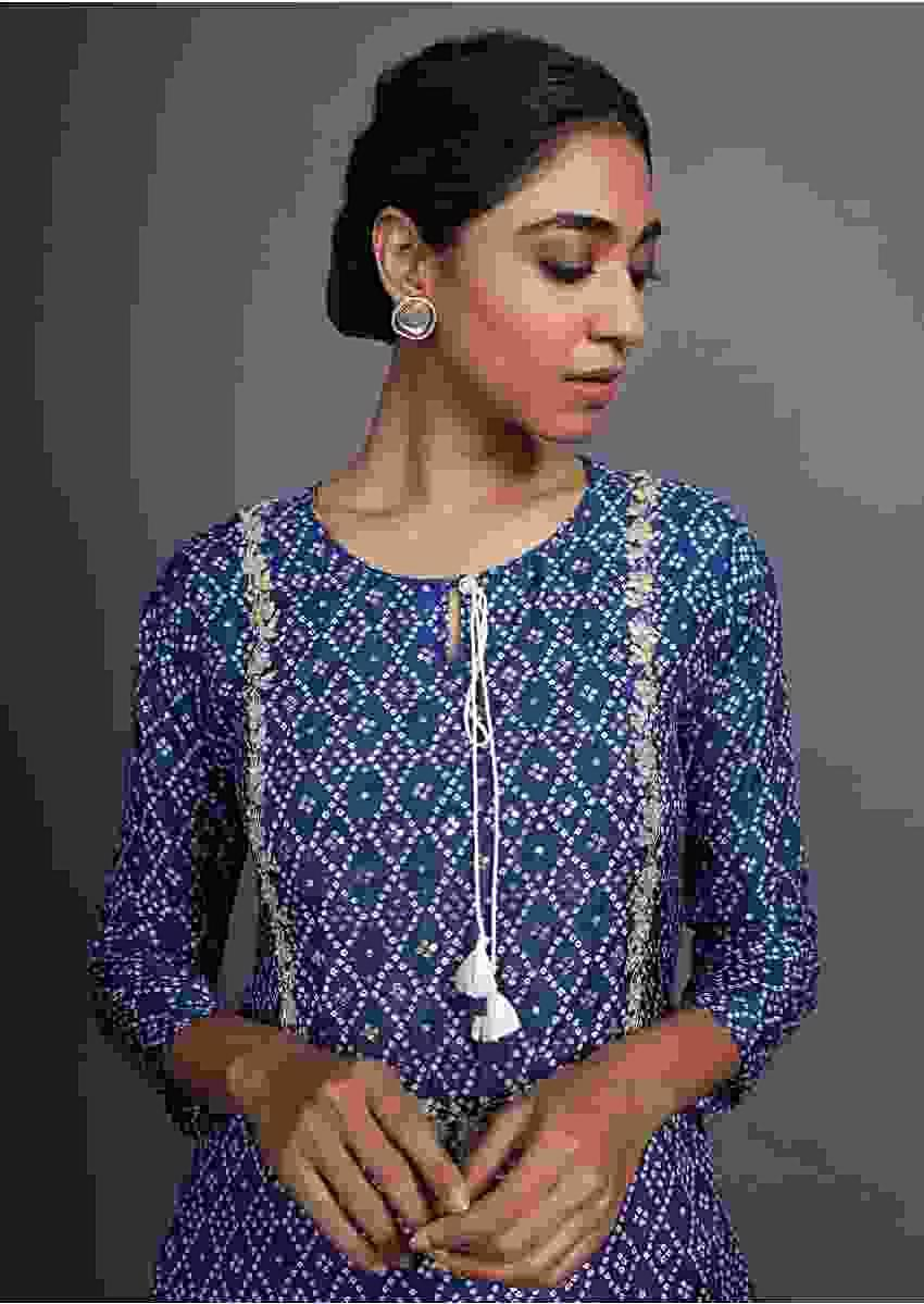 Blue Kurti With Bandhani Printed Geometric Jaal And Gotta Patti Work Online - Kalki Fashion