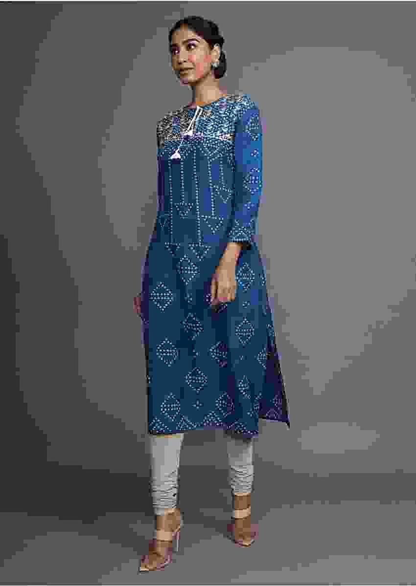 Blue Kurti With Bandhani Printed Geometric Motifs And Gotta Patti Work On The Yoke Online - Kalki Fashion