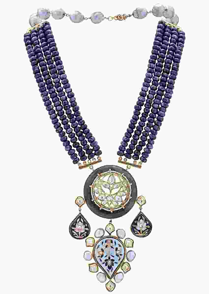 Blue Necklace With Agate Beads And Kundan Embellished Minakari Pendant Online - Joules By Radhika
