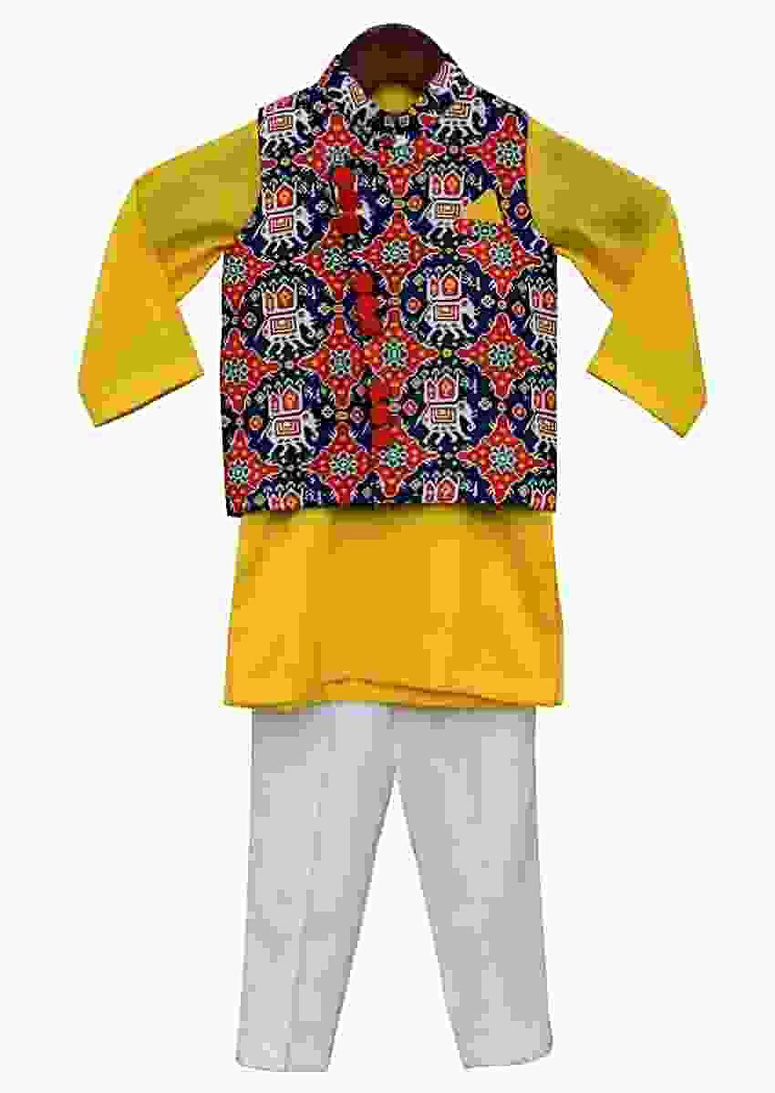 Blue Patola Nehru Jacket with Kurta & Pant By Fayon Kids