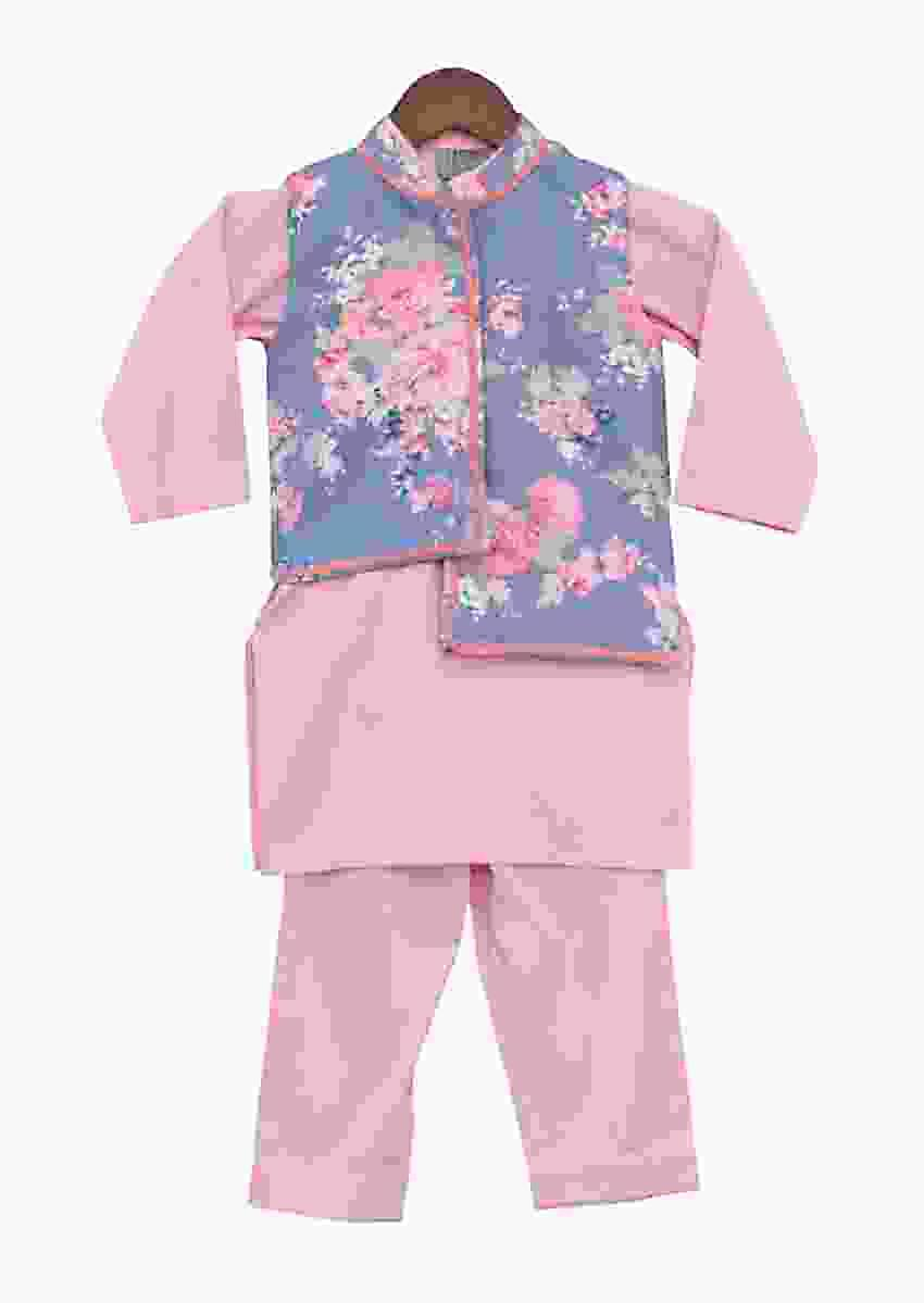 Blue Printed Nehru Jacket With Pink Kurta Set by Fayon Kids