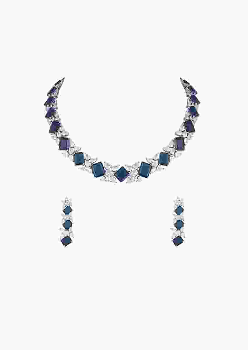 Blue Stone Studded Choker And Earrings Set In Geometric Design With Faux Diamonds By Aster