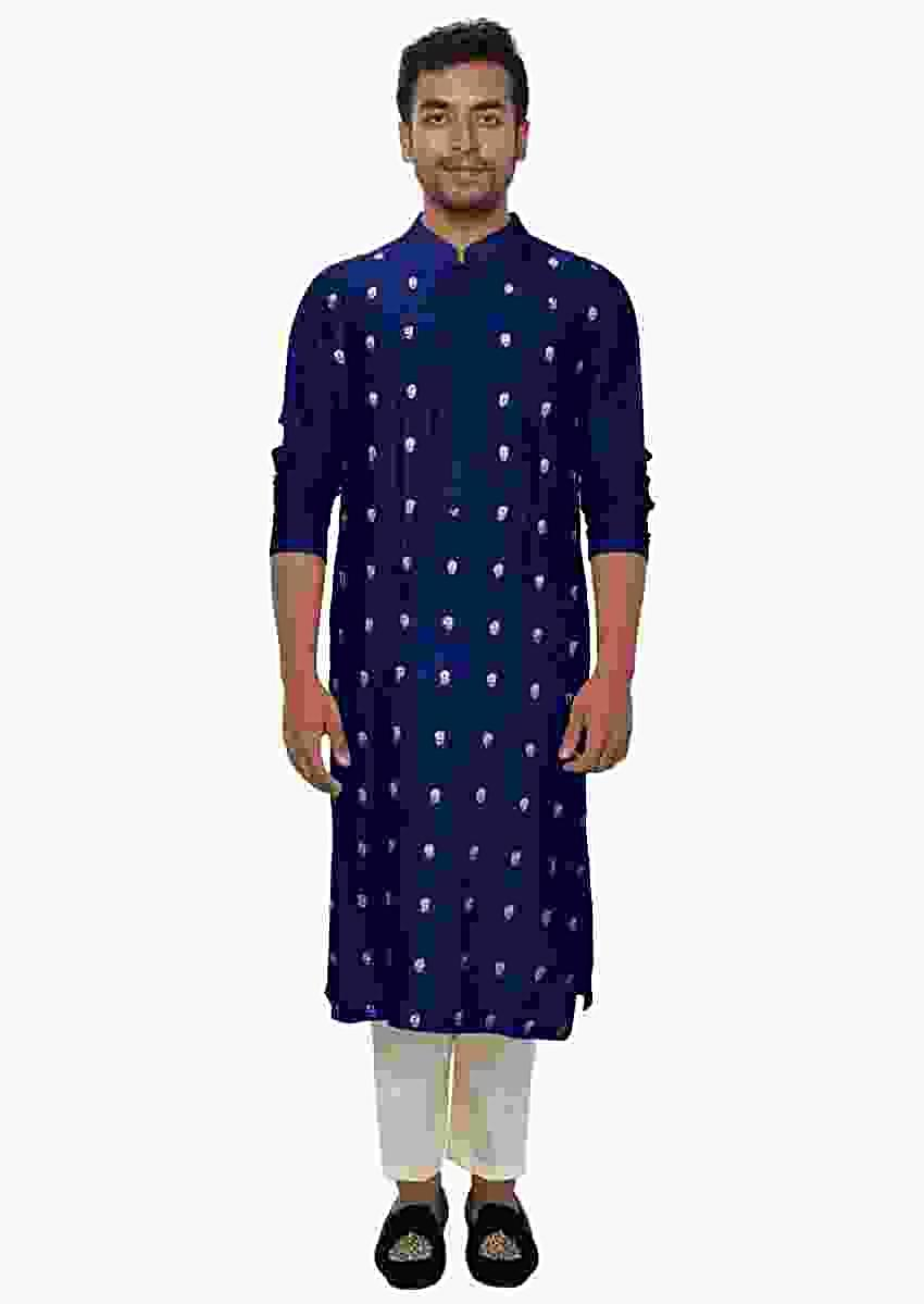 Blue Kurta Churidar Set With Threadwork Embroidery Online - Kalki Fashion
