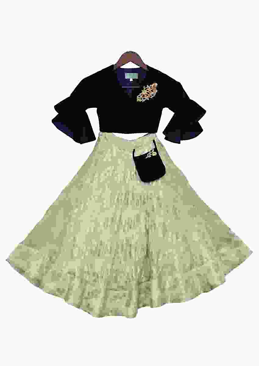Blue Velvet Choli With Green Brocade Lehenga by Fayon Kids