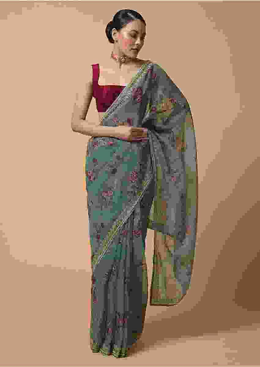Bluish Grey Saree In Organza With Floral Print And Moti Accents Online - Kalki Fashion