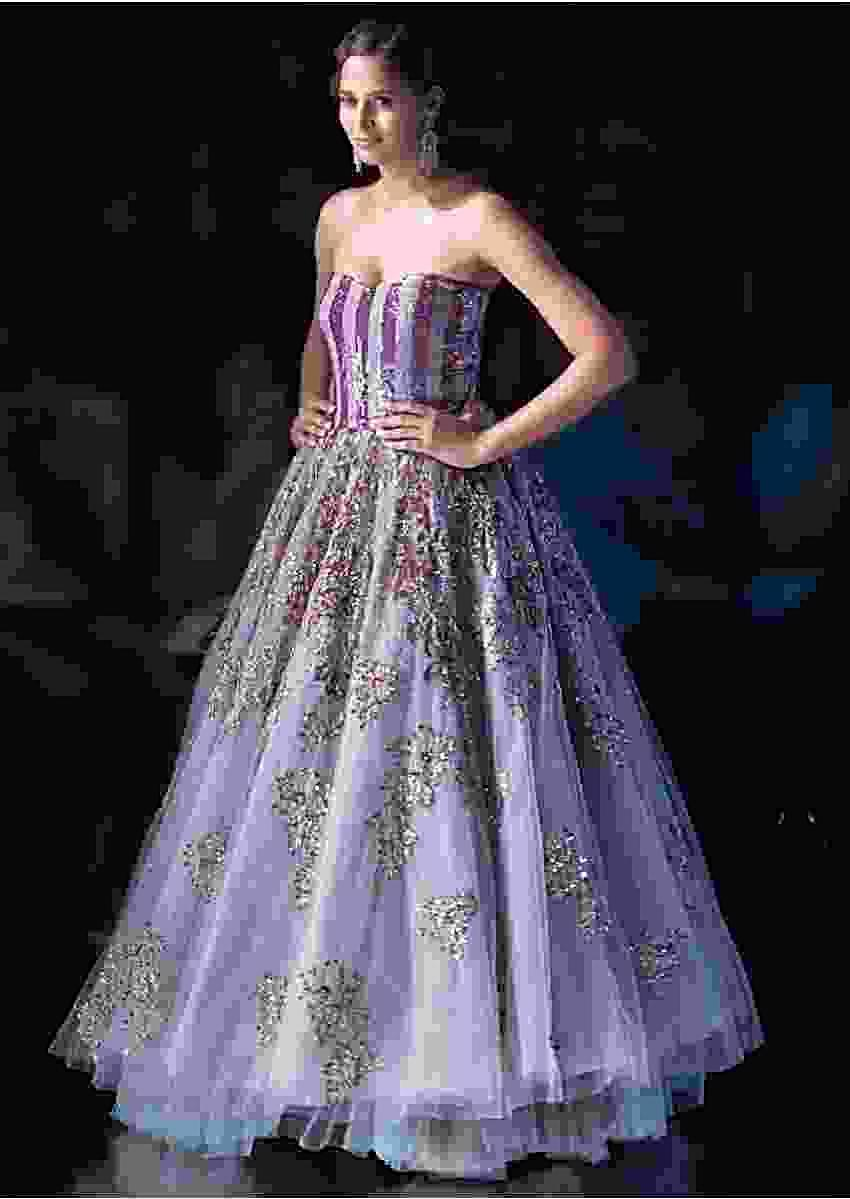 Sukhmani Sadana in Kalki Bluish Grey Strapless Corset Style Gown With Embroidered Mauve Patch Work
