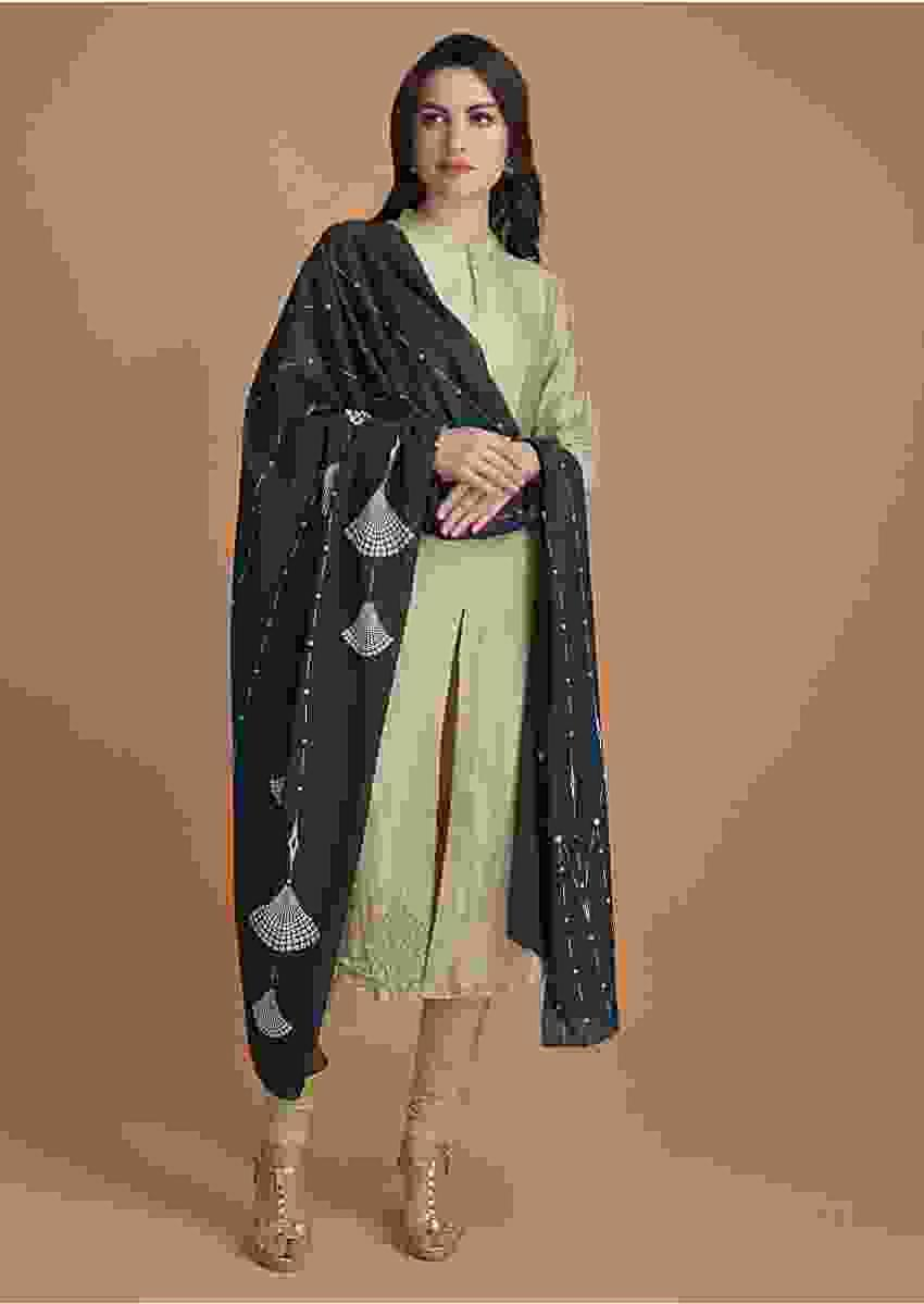 Bok Choy Green Kurti And Dark Pine Green Dupatta With Sequins Embroidery Online - Kalki Fashion
