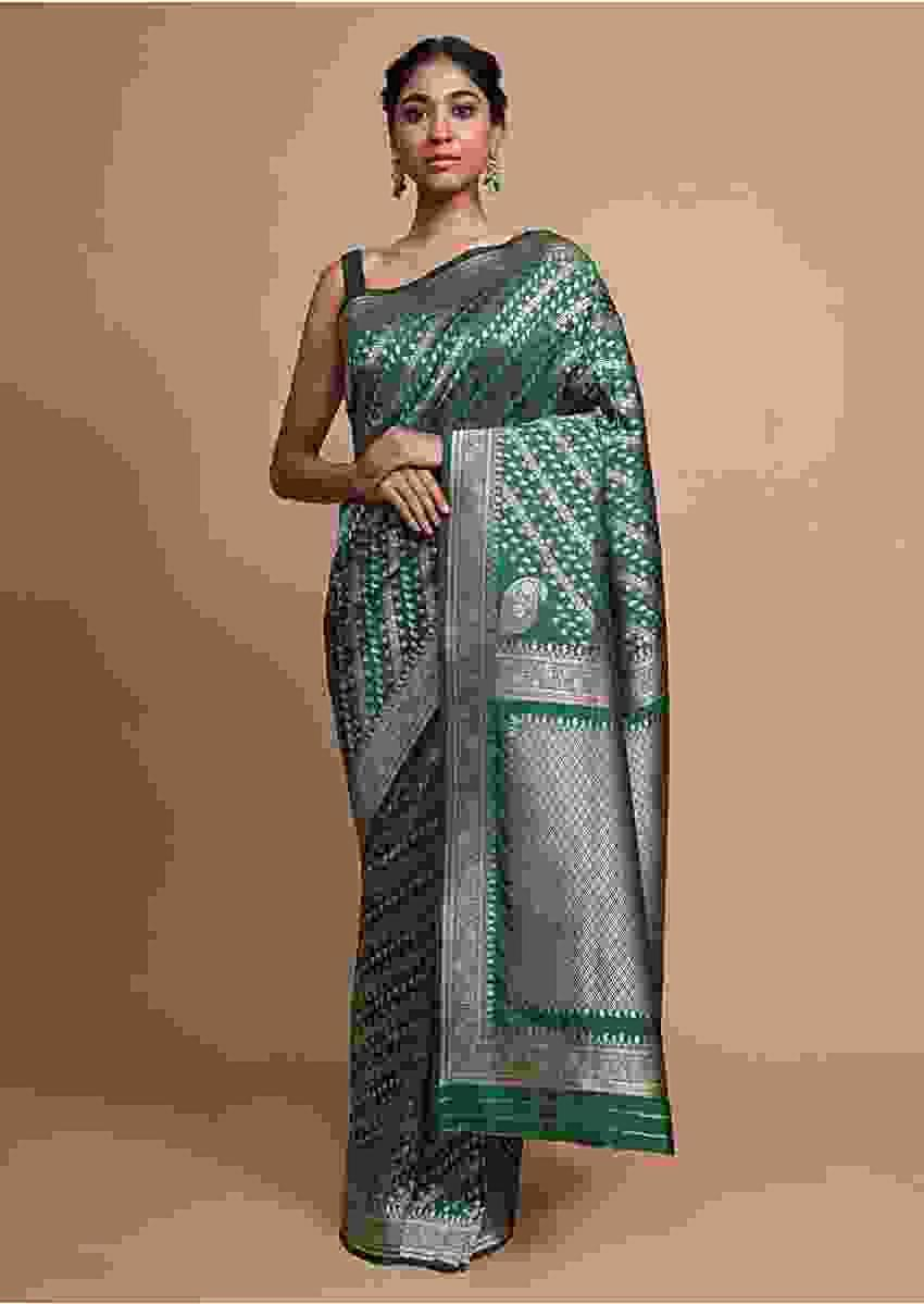 Bottle Green Banarasi Saree In Silk With Weaved Floral Design In Diagonal Pattern Online - Kalki Fashion