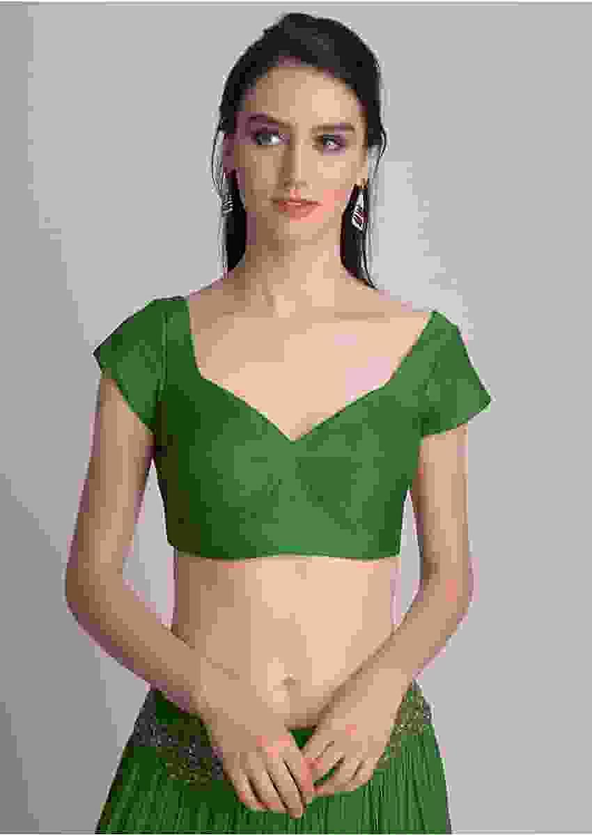 Bottle Green Blouse In Raw Silk With Sweet Heart Neckline Online - Kalki Fashion