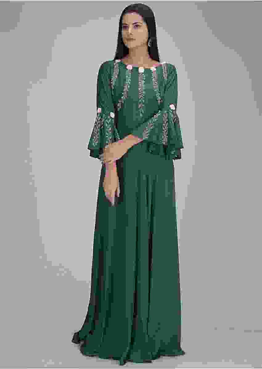 Bottle Green Gown In Cotton With Embellished Bodice Online - Kalki Fashion