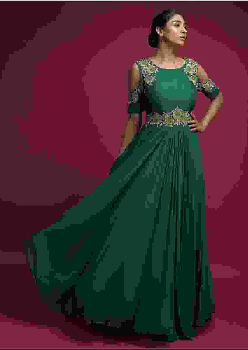 Bottle Green Indowestern A Line Gown In Georgette With Cold Shoulder Sleeves Online - Kalki Fashion