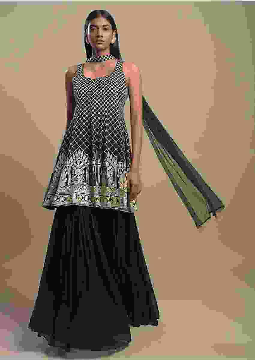Bottle Green Sharara Suit In Georgette With Resham Embroidered Checks And Floral Heritage Pattern Online - Kalki Fashion