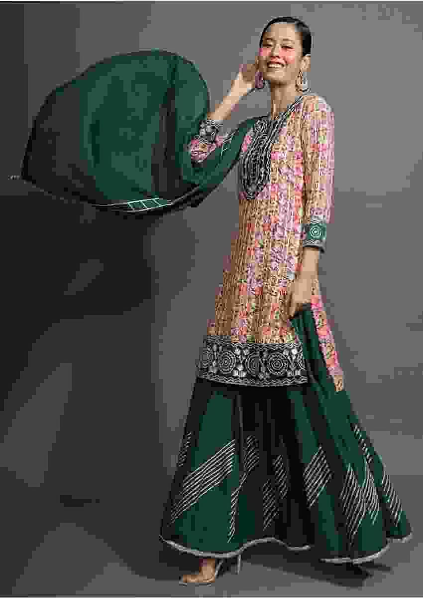 Bottle Green Sharara Suit With Pink Floral Printed Kurti And Gotta Pati Work Online - Kalki Fashion
