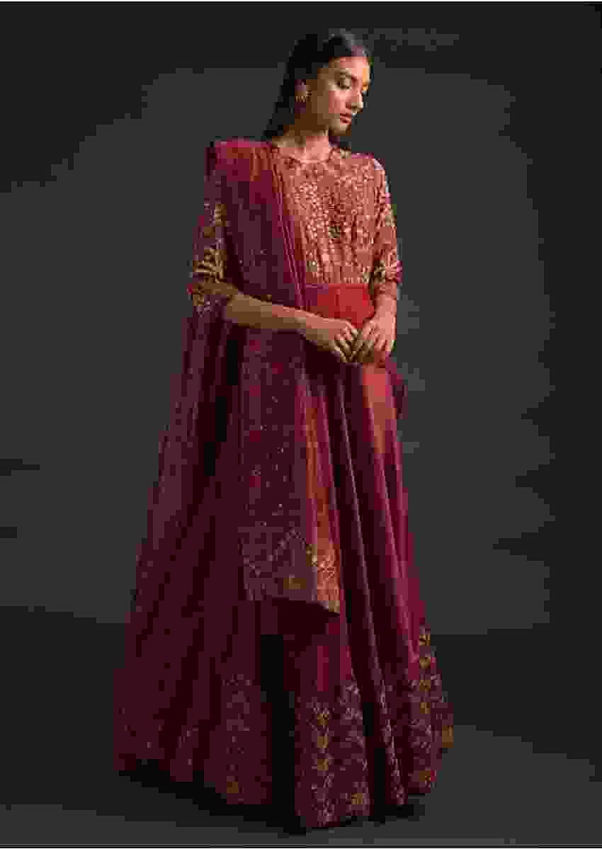 Brick Red Anarkali Suit With Floral Embroidery And Attached High Low Layer At The Waist Online - Kalki Fashion