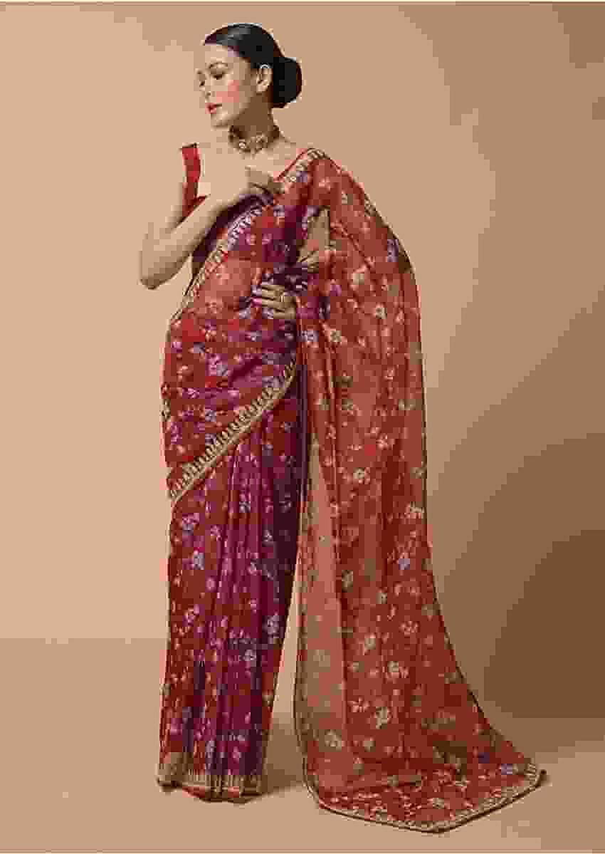 Brick Red Saree In Organza With Floral Print And Moti Accents Online - Kalki Fashion
