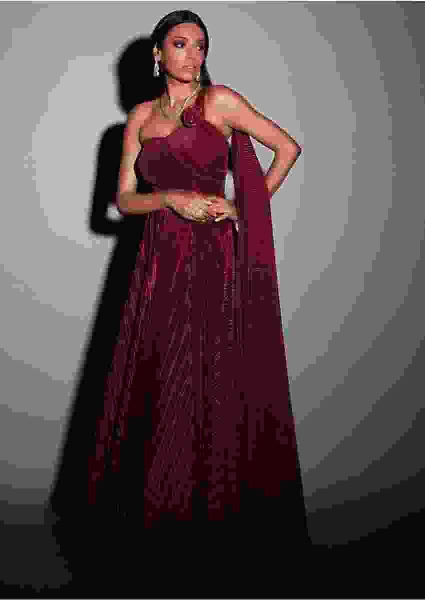 Brick Red Gown In Pleated Lycra With A Drape On The Shoulder And Waist Online - Kalki Fashion