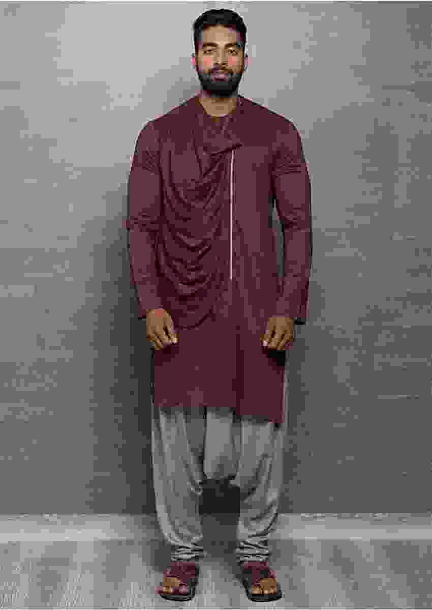 Brown Kurta In Cotton With Cowl Drape Online - Kalki Fashion