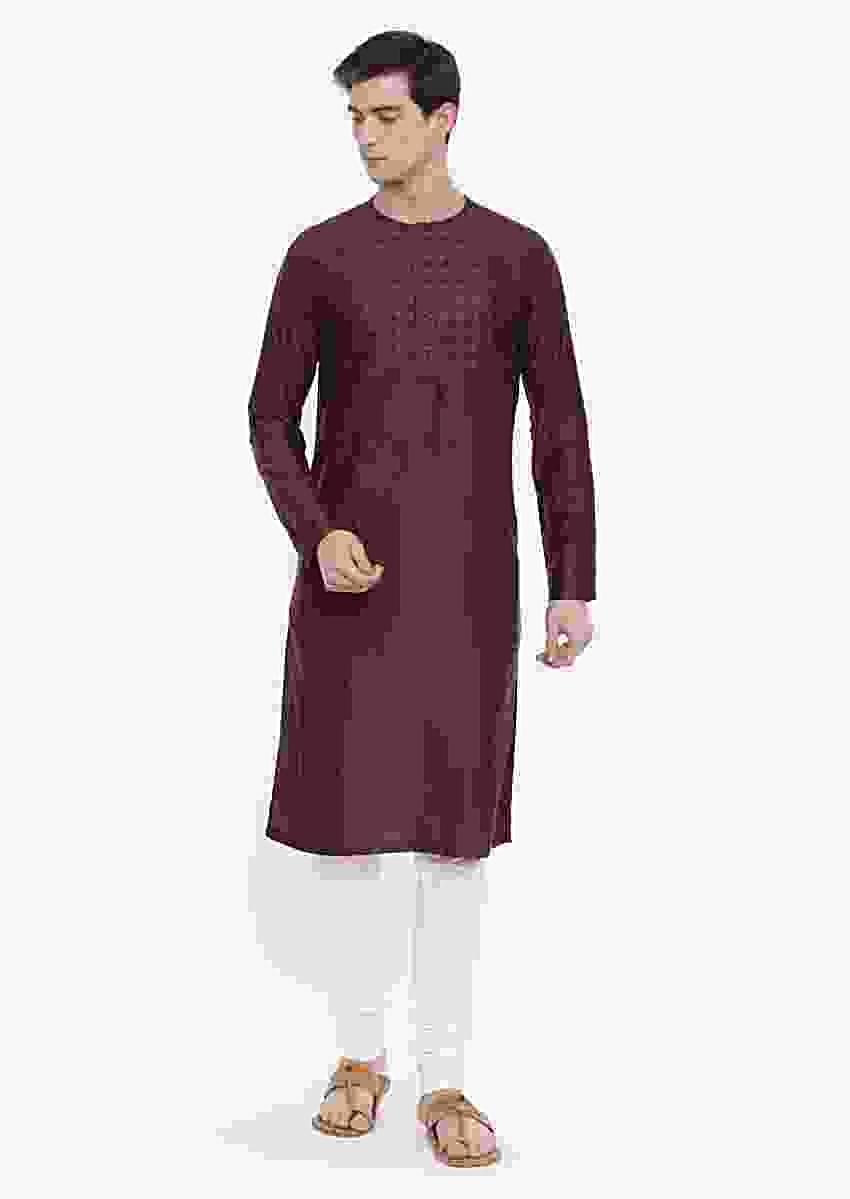 Brown Kurta And Churidar Set In Cotton Silk With Hand Embroidered Geometric Pattern On The Yoke By Mayank Modi