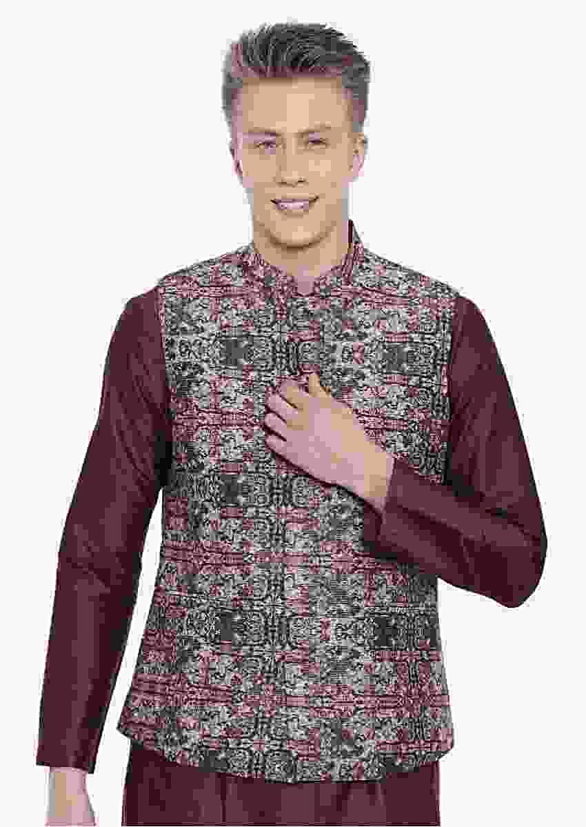 Brown Nehru Jacket In Chanderi With Jaal Print All Over By Mayank Modi