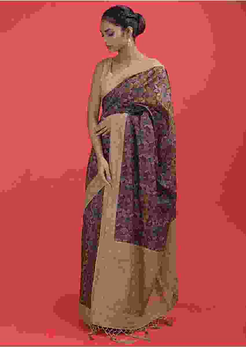 Brown Saree In Cotton Silk With Multi Colored Geometric Print, Thread And Kundan Work Online - Kalki Fashion