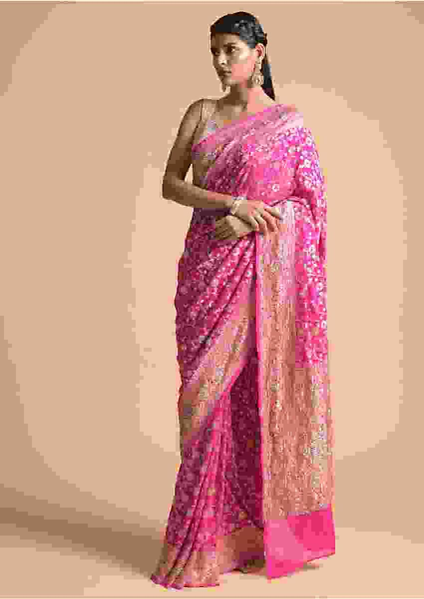 Bubblegum Pink Saree In Georgette With Brocade Floral Jaal And Cut Dana Highlights Online - Kalki Fashion