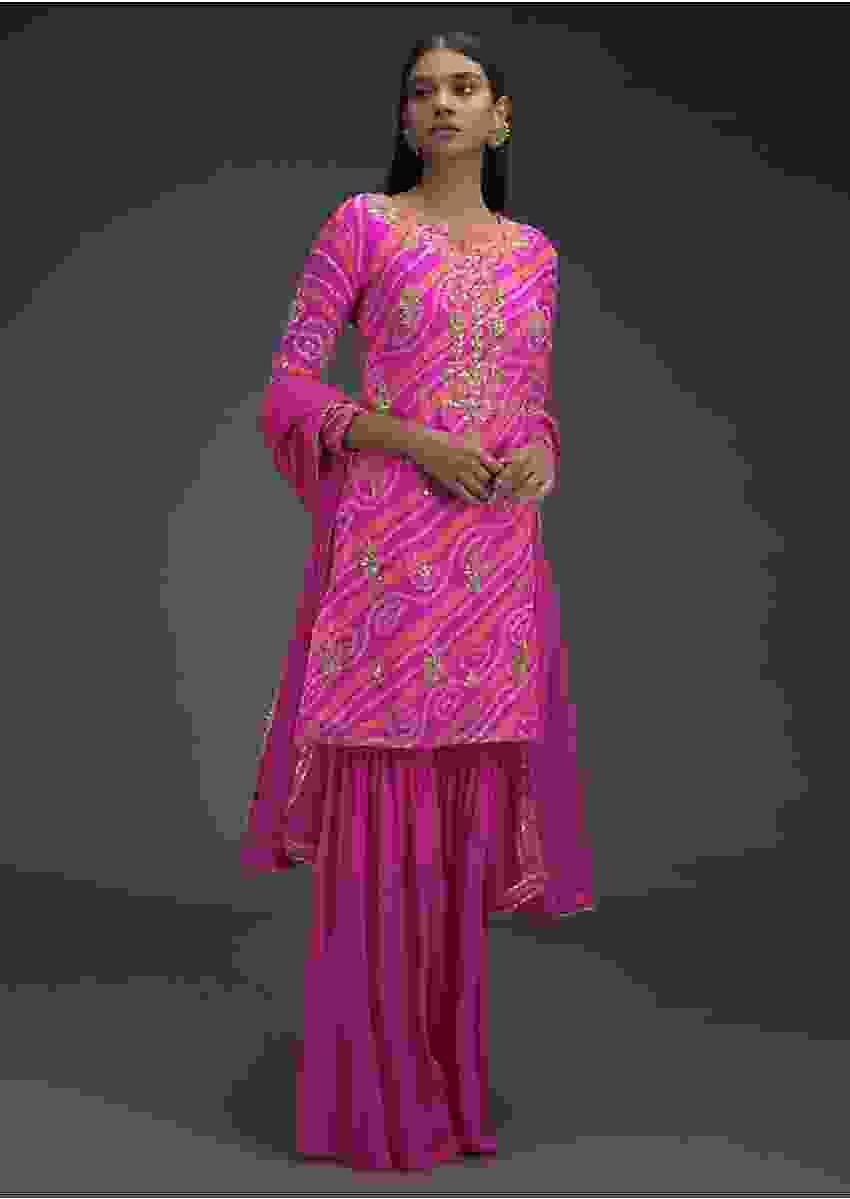 Bubblegum Pink Sharara Suit With Bandhani Print And Gotta Embroidered Buttis Online - Kalki Fashion
