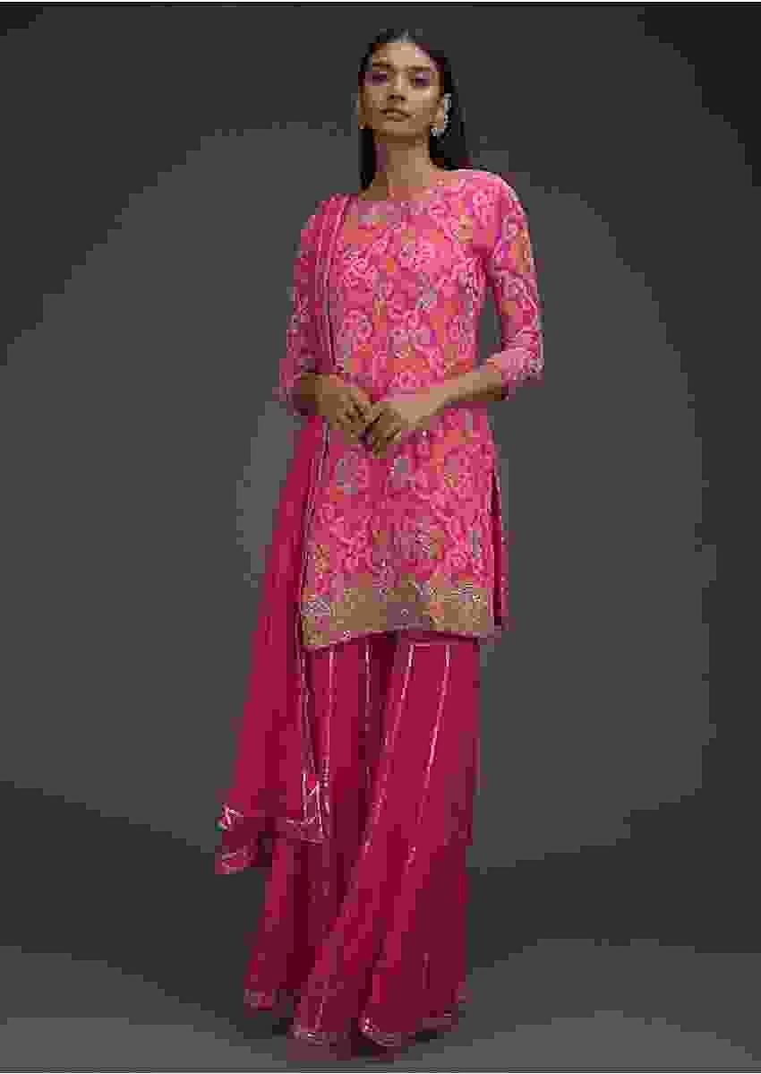 Bubblegum Pink Sharara Suit With Bandhani Print And Scallop Embroidered Hem Online - Kalki Fashion