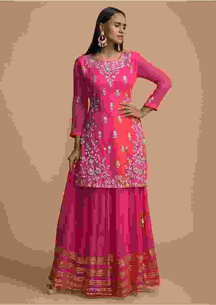 Bubblegum Pink Straight Cut Suit In Georgette With Gotta Patti Work And Skirt Bottoms Online - Kalki Fashion