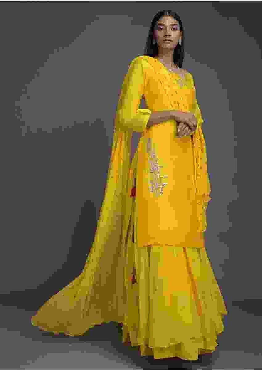 Bumble Bee Yellow Lehenga And Kurta With Gotta Patch Embroidery And Bandhani Printed Dupatta Online - Kalki Fashion