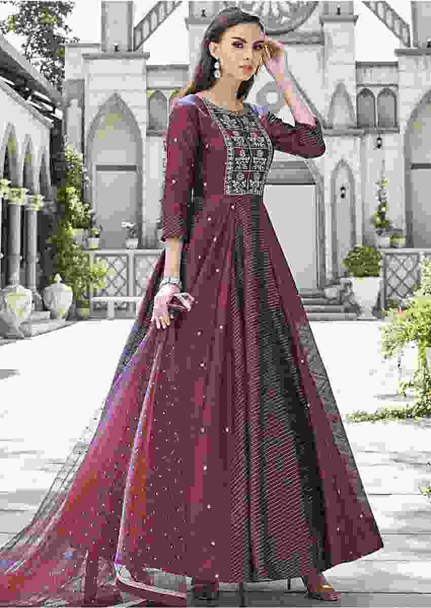 Burgundy Anarkali Suit In Raw Silk With Alternate Kali Online - Kalki Fashion