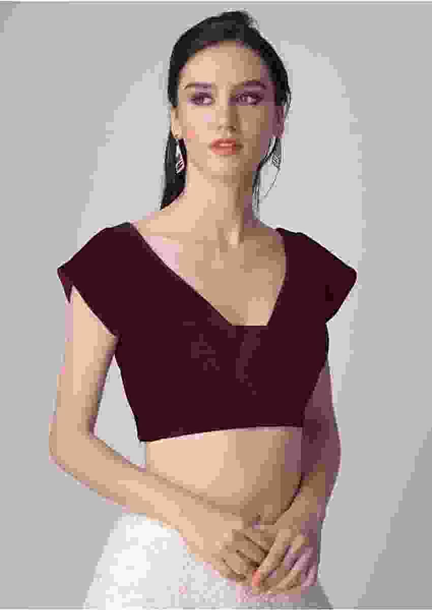 Burgundy Blouse In Velvet With Trapeze Neckline Online - Kalki Fashion