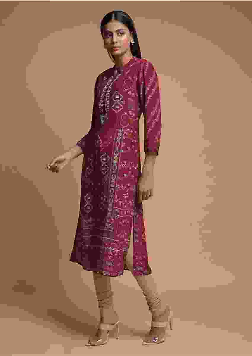 Burgundy Kurti In Crepe With Print And Floral Embroidered Placket Online - Kalki Fashion
