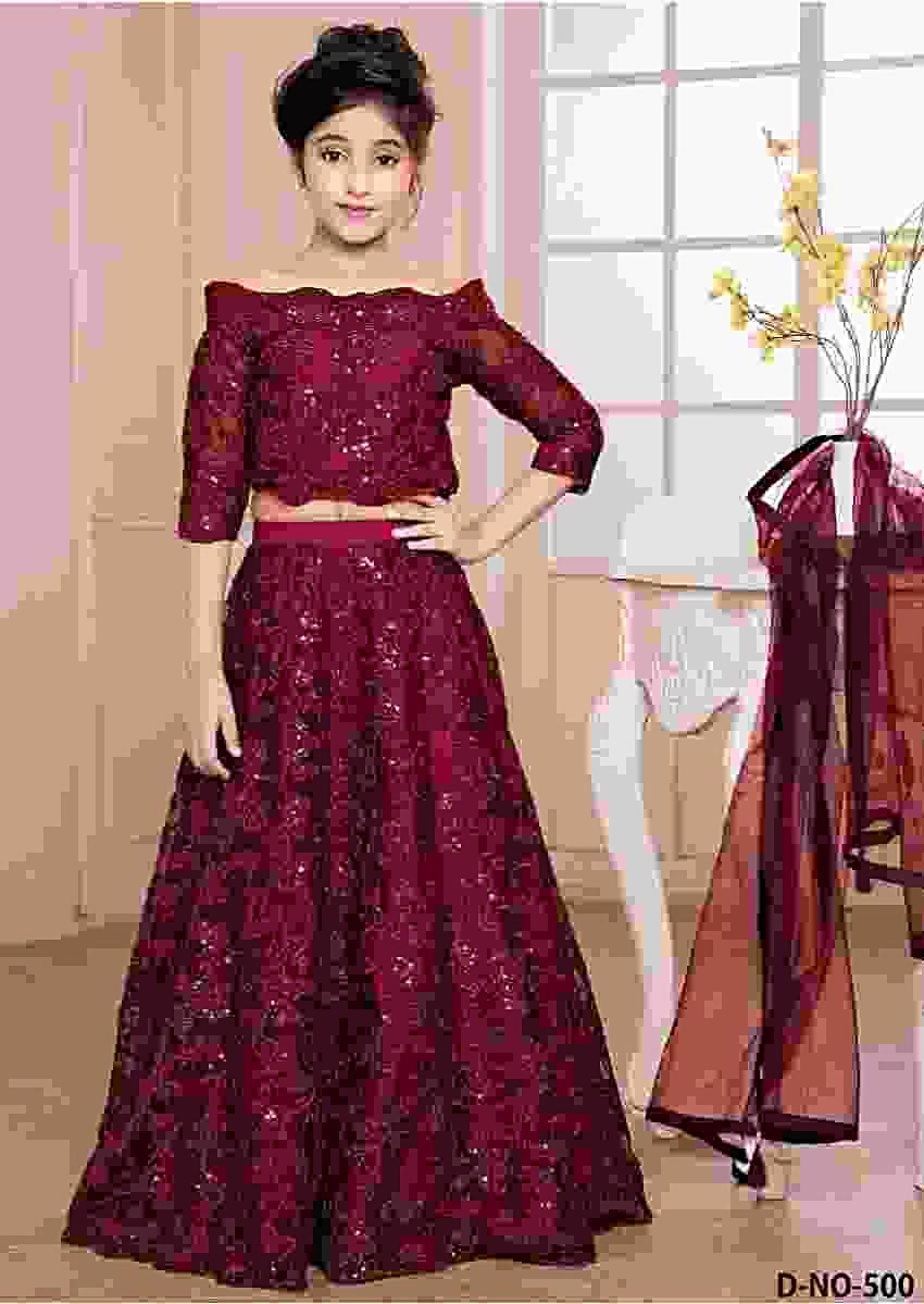 Burgundy Skirt And Off Shoulder Crop Top In Net With Thread And Sequins Work In Jaal Pattern Online - Kalki Fashion