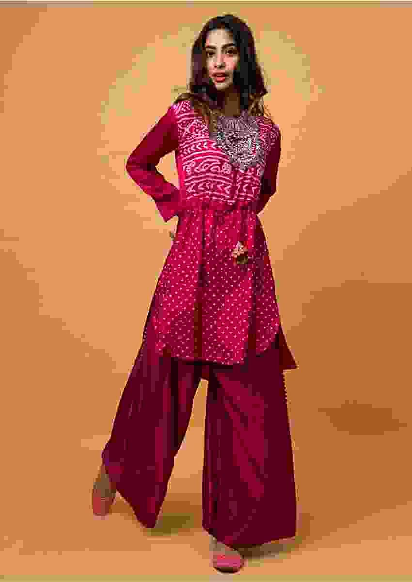 Burnt Pink Palazzo Suit With Real Bandhani Kurta Online - Kalki Fashion