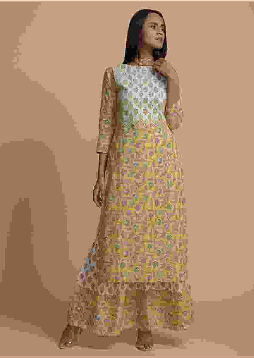 Butter Yellow And White Sharara Suit In Cotton With Floral Print And Gotta Lace Work Online - Kalki Fashion