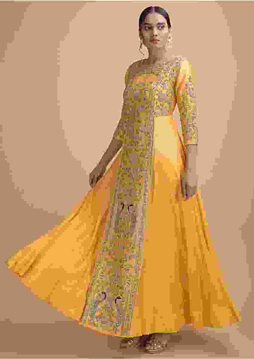 Butter Yellow Indowestern Gown With Hand Embroidery In Floral And Bird Pattern Online - Kalki Fashion