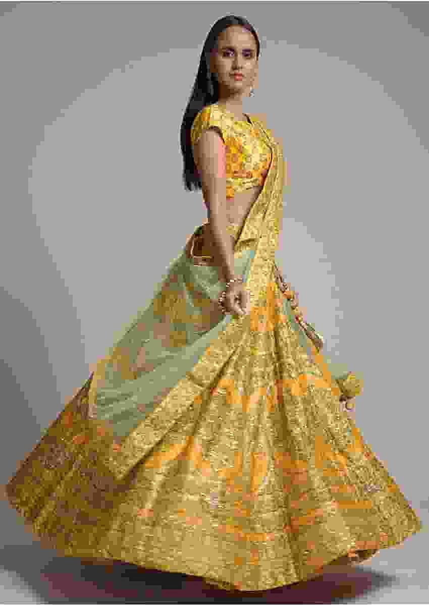 Butter Yellow Lehenga In Silk With Foil Printed Heritage Motifs And Sequins Work Online - Kalki Fashion