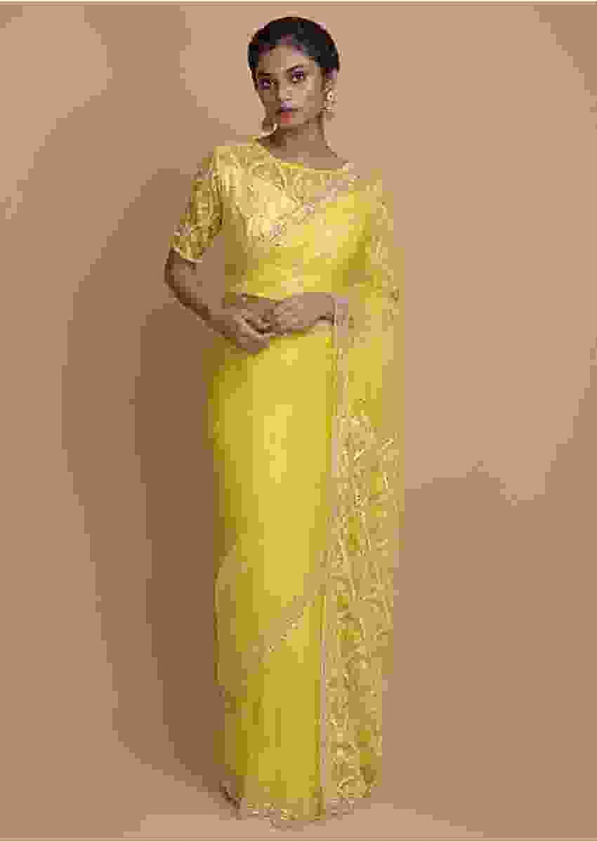 Butter Yellow Saree In Organza With Mirror Work Online - Kalki Fashion