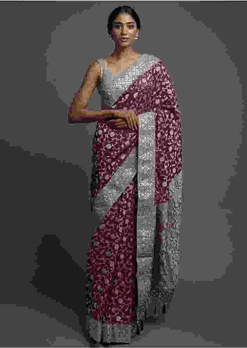 Byzantine Purple Saree In Georgette With Weaved Floral Jaal And Gotta Work Online - Kalki Fashion